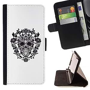 Momo Phone Case / Flip Funda de Cuero Case Cover - Blanco Negro floral primavera cráneo - LG Nexus 5 D820 D821