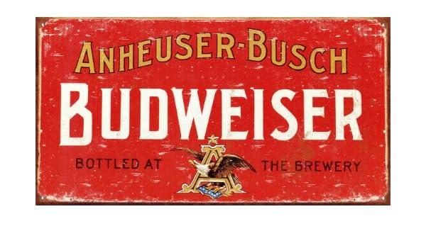 Budweiser Cartel Metálico Anuncio Vintage Rojo 30x22cm ...