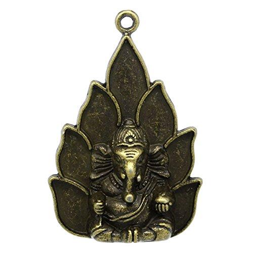 Housweety 5 PCs Charm Pendants Elephant Buddha Bronze Tone 5.3cmx3.6cm(2 1/8