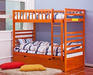 Merax Twin Over Twin Bunk Bed with Trundle in Oak/Espresso Finish