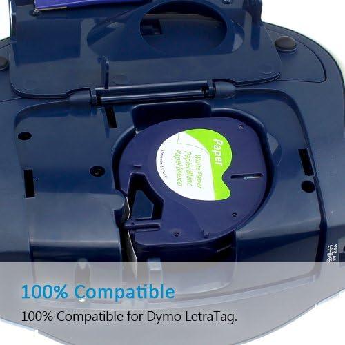 5 PZ Lt 91201 S0721610 Cassetta Adesiva in Plastica Autoadesiva LetraTag Compatibile per Etichettatrice Dymo LetraTag LT-100H LT-100T QX50 2000 Stampa Nera su Nastro in Plastica Bianca 12 mm x 4 m