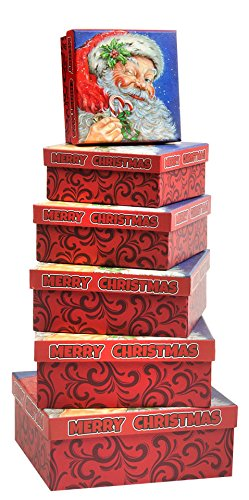 Christmas Gift Boxes 6 Piece Nesting Christmas Holiday Box Set with Santa Claus Merry Xmas - Great for Wrapping Presents or as a Decoration (Square ()
