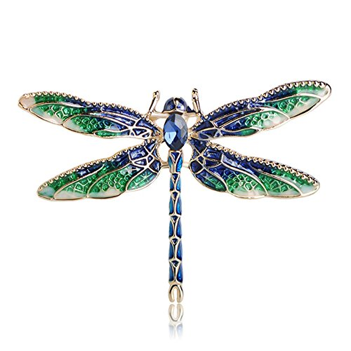 MINGHUA Pretty Enamel Red Blue Dragonfly Brooch Pin Charm Women Men Pin Jewelry (Green) ()