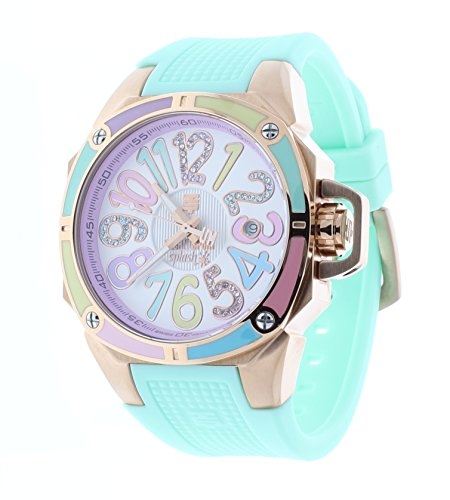 Technosport TS-200-1M Womens Mint Watch Swarovski Multicolor Colorful Dial Markers Rose-Tone Case