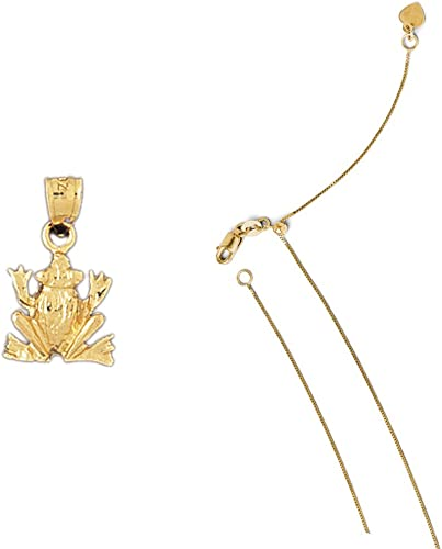 14K Yellow Gold Frog Pendant on an Adjustable 14K Yellow Gold Chain Necklace