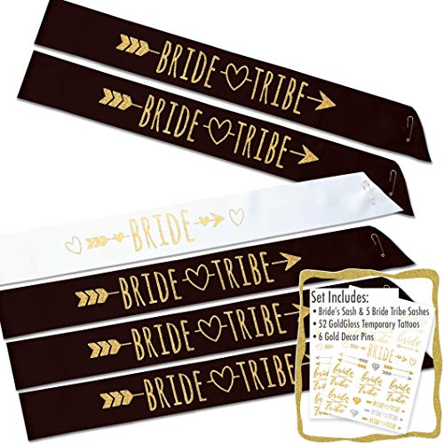 #glamist Bride Tribe 18 Piece Bachelorette Sash Set - 6 Gold Glitter Black & White Bridal Shower Sashes Kit, 6 BONUS Bride & Bride Tribe Temporary GoldGloss Tattoos, 6 Gold Decor Pins