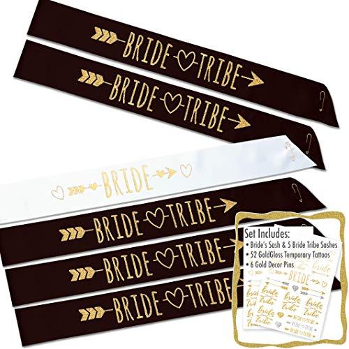 #glamist Bride Tribe 18 Piece Bachelorette Sash Set - 6 Gold Glitter Black & White Bridal Shower Sashes Kit, 6 BONUS Bride & Bride Tribe Temporary GoldGloss Tattoos, 6 Gold Decor Pins]()