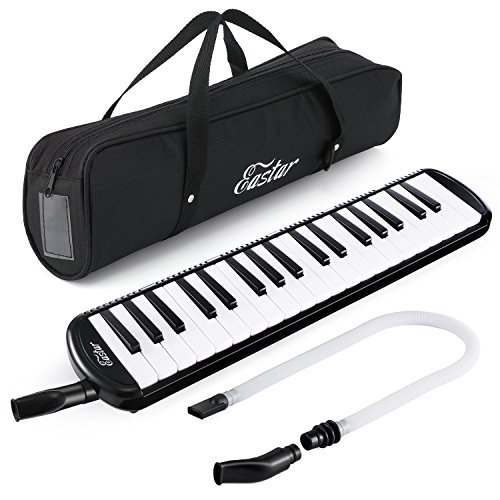 Eastar 37 Key Melodica Instrument with Mouthpiece Air Piano Keyboard,Carrying Bag Black by Eastar