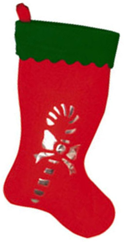 Rubie's 19'' Red Christmas Stocking Silver Candy Cane Silhouette
