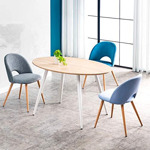 Mc Haus FIKKA - Mesa Comedor Ovalada de madera MDF diseno Escandinavo con patas color Blanco lacadas, Mesa cocina salon 129x79x75cm
