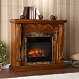 Southern Enterprises Cardona Electric Fireplace, Walnut Finish
