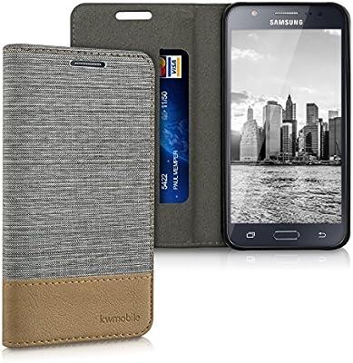 kwmobile Funda Compatible con Samsung Galaxy J5 (2015)-Carcasa de Tela y Cuero sintético con Soporte en Gris Claro/marrón: Amazon.es: Electrónica