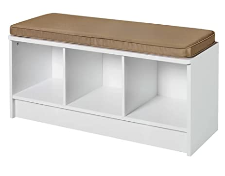 Entryway Storage Bench Hallway Organizer Laundry Room U0026 Mudroom White Wood  Furniture Seat With Tan Cushion