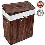 Tatkraft Nevada Large Bamboo Laundry Basket Textile Inner Bag 105L