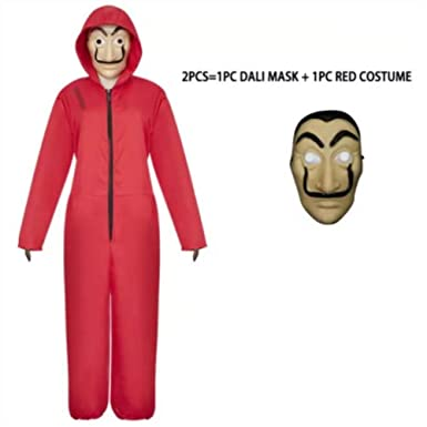 Kamannicos Salvador Dali Cosplay Red Costume Money Heist The House of Paper La Casa De Papel Cosplay Face Mask (XL)