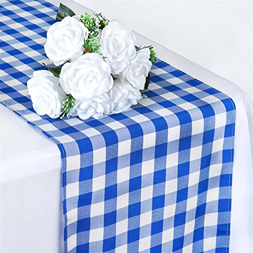 BalsaCircle 14 x 108-Inch Blue Gingham Checkered Table