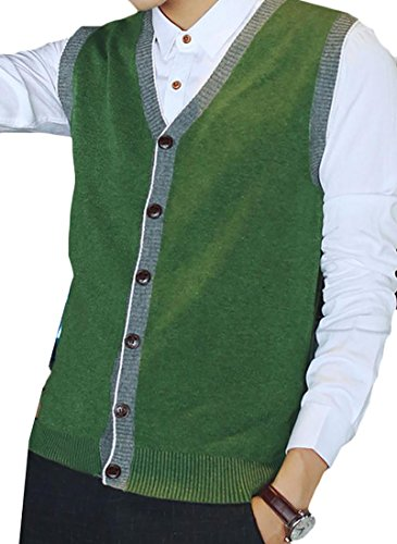 Fulok Men's Solid Color Button-Down Wool Sweater Vest Cardigan Green L