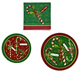 #6: Party House 40 Dinner & 48 Dessert Paper Plates And 96 Paper Napkins - Candy Cane