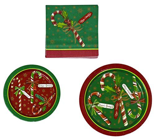 Candy Cane Stripe Mouse - Party House 40 Dinner & 48 Dessert Paper Plates And 96 Paper Napkins - Candy Cane
