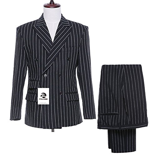 FOLOBE Mens 3-Piece Pinstripe Suit Double Breasted Formal Blazer Jacket, Black (3 Button Black Pinstripe Suit)
