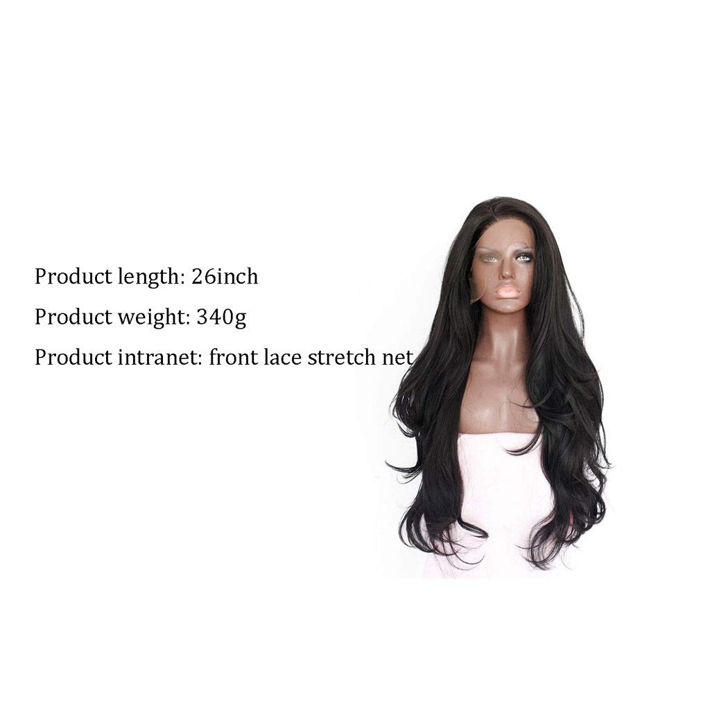 LF stores-wigs Wig Women's 26inch Long Natural Black Wave Wig Ms. Cosplay Free Wig Cap by LF stores-wigs (Image #2)