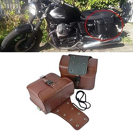 Alforja/Accesorios de la motocicleta lateral modificada del cuero del bolso de la caja Caballero Bolsa Kit (Color : Marrón)