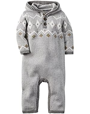 Carter's Baby Boys Hooded Fair Isle Jumpsuit - 3 Months