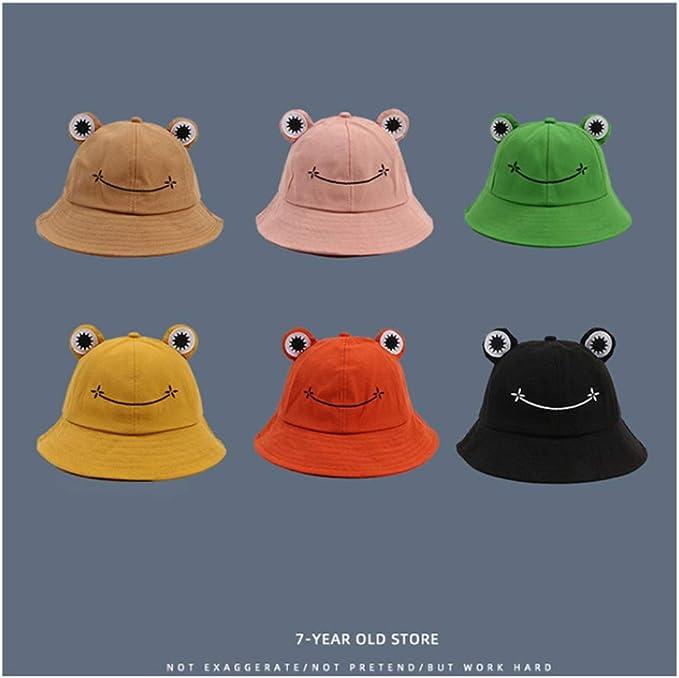 UMIPUBO Bucket Sun Hat Vintage Summer Cotton Cute Frog Bucket Hat Outdoor Foldable Fisherman Hat for Men Women
