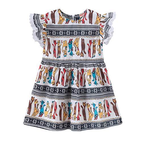 - Tantisy ♣↭♣ Baby Girls Ruffle Sleeve Print Little Princess Dresses Casual Comfy Soft Miniskirt Zipper Age 18M-5Y