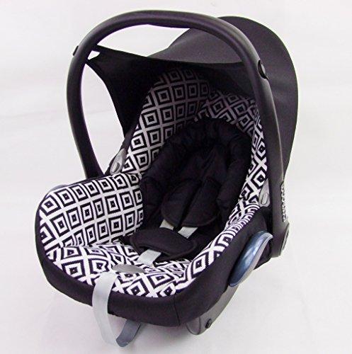 Babys-Dreams kompl. Ersatzbezug für Maxi-Cosi CabrioFix 6 tlg. SCHWARZ MIT WEISSEN KAROS *NEU* Bezug für Babyschale Sommerbezug Cabrio Fix
