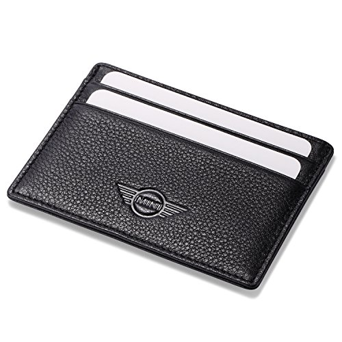 (MINI Cooper Slim Card Wallet Black with 4 Credit Card Slots - Genuine Leather)