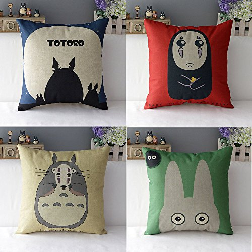 WOMHOPE 4 Pcs Studio Ghibli My Neighbor Totoro Series - Cotton Linen Throw Pillow Case Cushion Cover Square Throw Cover, 18x18 Inches (B (Set of 4))