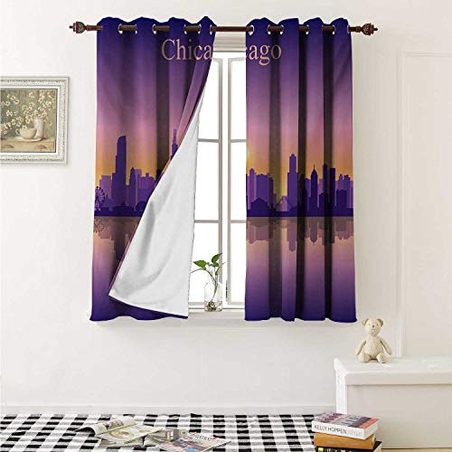 shenglv Chicago Skyline Waterproof Window Curtain Sunset in Illinois American Horizon Behind High City Silhouettes Curtains for Party Decoration W84 x L72 Inch Purple Apricot Pink]()