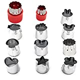 Guestway Mini Cookie Cutter Tool Set Heart Shaped Stainless Steel DIY Vegetable Cutter Fruit Press Kit Stamp Animal Flower Mini Veggie Molds Tool for Kids Bento Lunch Boxes (Red 12PCS)