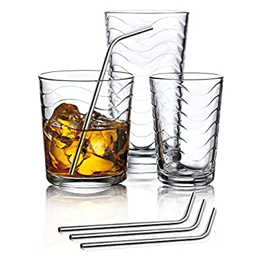 Set of 12 Durable Wave Drinking Glasses - Includes 4 Highball Glasses 4 DOF Glasses 4 Juice Glasses and 4 Stainless Steel Drinking Straws - Beautiful 16-piece Drinkware Set