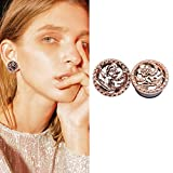 YIDULA Ear Gauges Plugs Tunnels for Ears Flower Jewelry Stainless Steel Flare (Gold 00g-10mm)