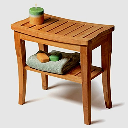Bamboo Bench Side Table for Shower Spa Sauna Massage All Weather with Lower Shelf Storage Curved Top Natural Brown Wooden Construction Stable Sturdy Elegant & eBook by Easy&FunDeals (Shelf Lower Slatted)