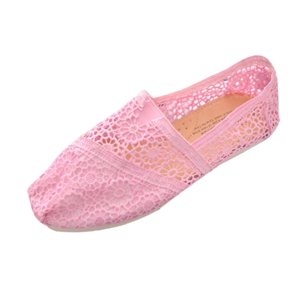 4e1a3a0e1276f Amazon.com : Ecurson Casual Canvas Womens Crochet Slip Flats Shoes ...