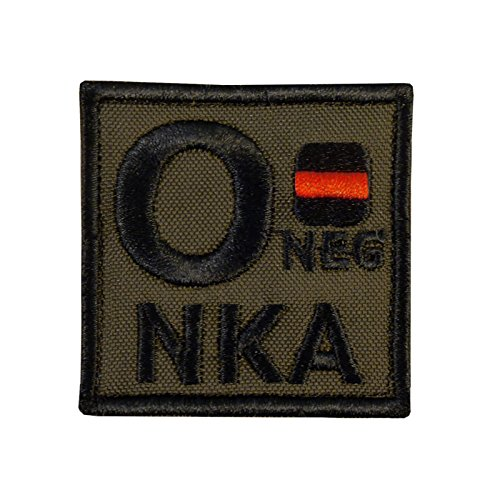 Olive Drab O NEG O- NKA Blood Type OD Green Embroidered Fastener Patch