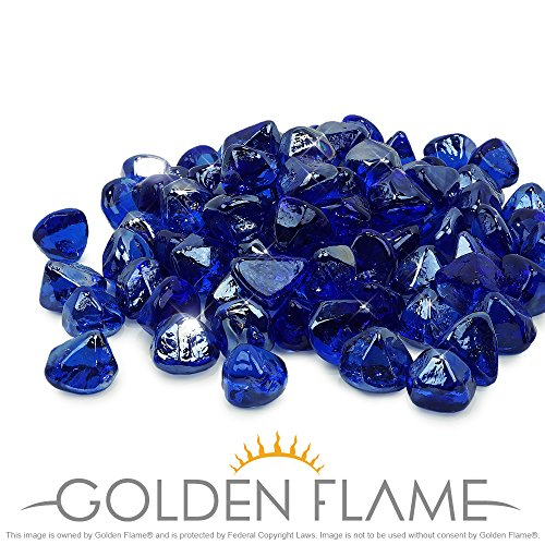 Golden Flame 10-Pound Fire Glass 1-Inch Cobalt Blue Reflective Fire-Diamonds