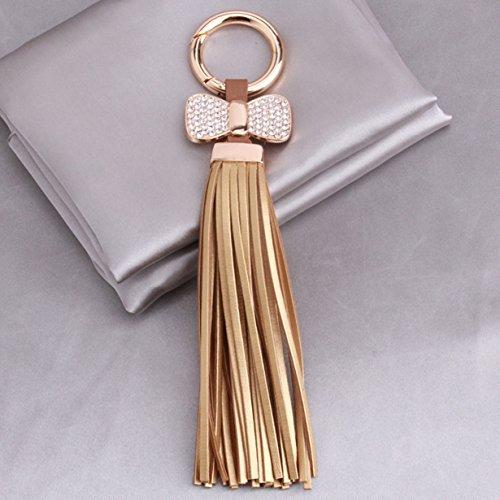 1 Pc Mini Pocket Leather Tassels Hanging w/Bow Keychain Keyring Keyfob Bag Pendant Keys Chains Rings Tags Strap Wrist Peerless Popular Cute Wristlet Utility Keyrings Tool Women Girls Gift, Type-03