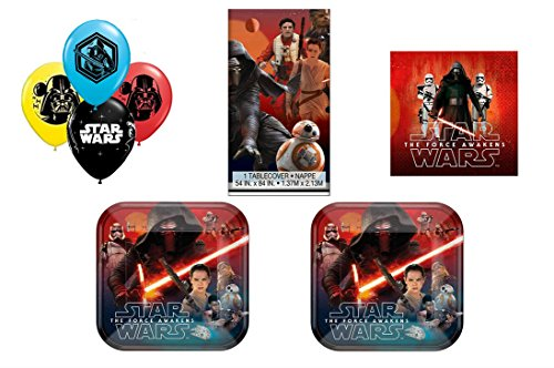 The Force Awakens Star Wars Party Pack ~ Dinner Plate, Luncheon Napkin, Balloons &