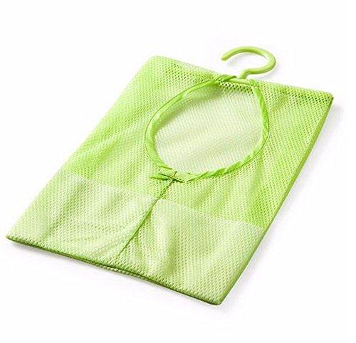 IslandseBathroom Storage Clothespin Mesh Bag Hooks Hanging Bag Organizer Shower Bath New (Green) -