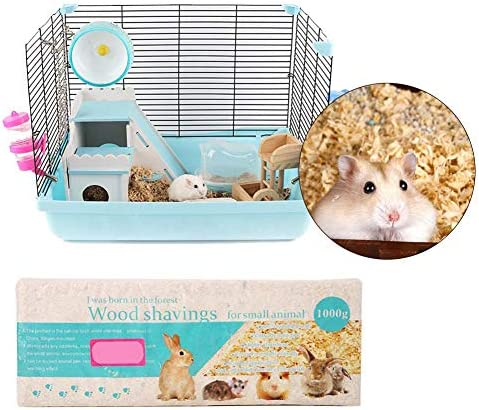 Hamster Bedding Tray,1 Kg Small Animal Habitat Shavings Safe Sawdust for Syrian Hamster Chinchillas Hedgehog Guinea Pigs Gerbils Squirrels