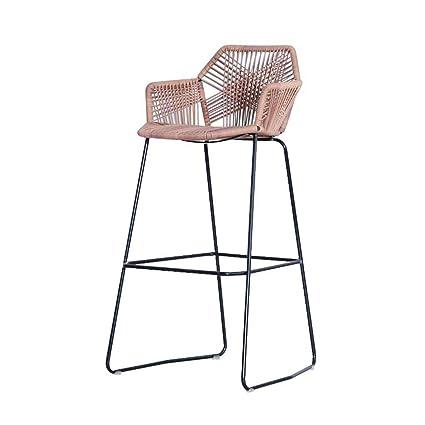 Surprising Wzhbarstool Nordic Metal Crafted Rattan Chair Bar Chair Machost Co Dining Chair Design Ideas Machostcouk