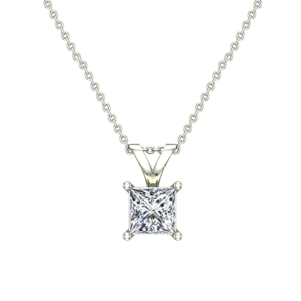 1/3 ct tw I1 G Natural Princess Cut Diamond Solitaire Pendant Necklace 14K White Gold