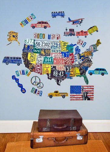 Oopsy Daisy License Plate Map Peel and Place Wall Art, 54 by 45