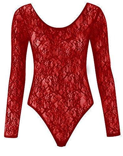 Fashion 4Less Body para Mujer de encaje Wine