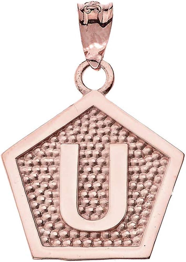 LA BLINGZ 14K Rose Gold Letter U Initial Pentagon Pendant Necklace