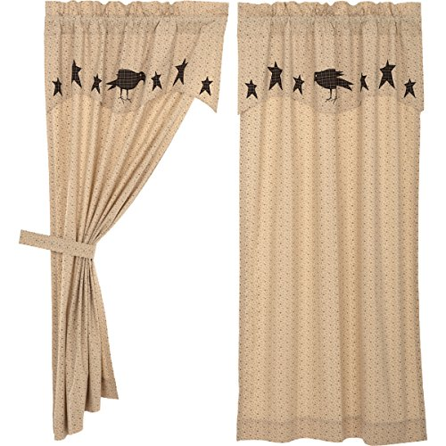 VHC Brands Primitive Curtains Prim Grove Crow Rod Pocket Cotton Tie Back(s) Appliqued Star Panel Pair, Dark Creme Tan